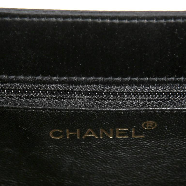 Chanel Black Satin Evening Bag Clutch For Sale 4