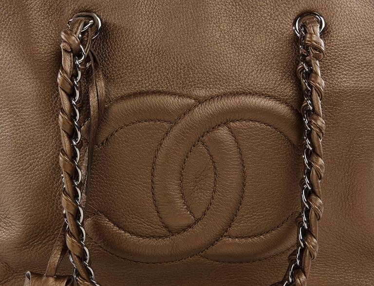 Chanel Bronze Leather Large Bowler Tote Bag 5