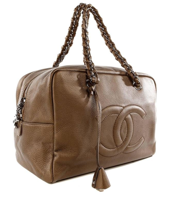 Chanel Bronze Leather Large Bowler Tote Bag 3