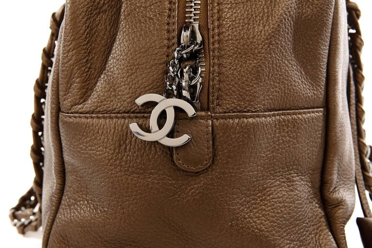 Chanel Bronze Leather Large Bowler Tote Bag 6