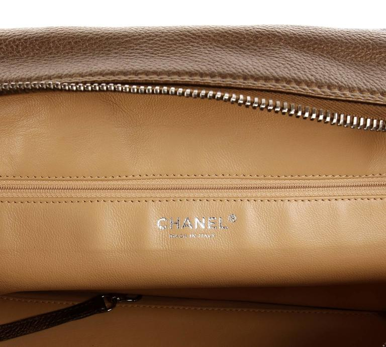 Chanel Bronze Leather Large Bowler Tote Bag 9