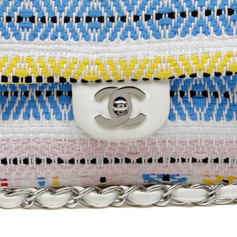 Chanel White Multi Woven Stripe Small Flap Bag For Sale 1