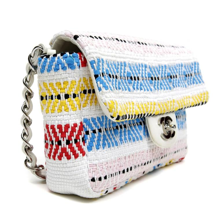Gray Chanel White Multi Woven Stripe Small Flap Bag For Sale