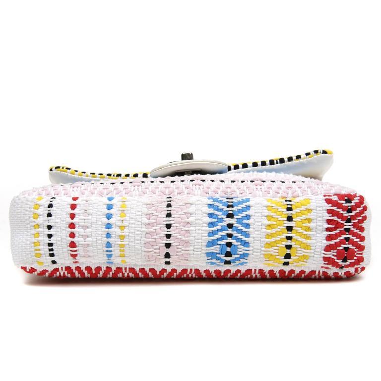 Chanel White Multi Woven Stripe Small Flap Bag In Excellent Condition For Sale In Malibu, CA