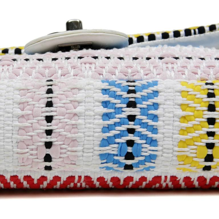 Women's Chanel White Multi Woven Stripe Small Flap Bag For Sale