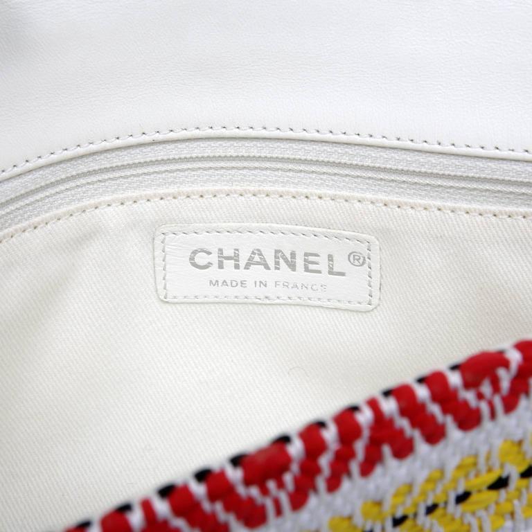 Chanel White Multi Woven Stripe Small Flap Bag For Sale 3