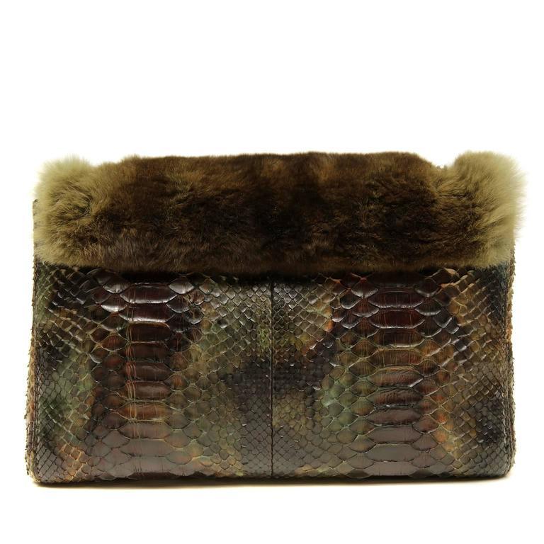 Chanel Green Brown Chinchilla Fur and Python Bag 2