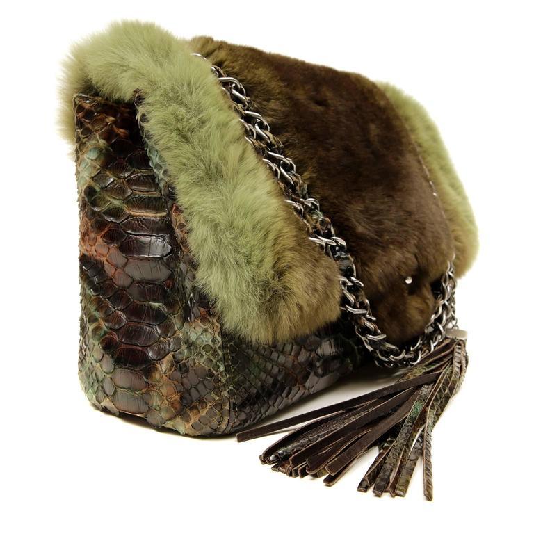 Chanel Green Brown Chinchilla Fur and Python Bag 3