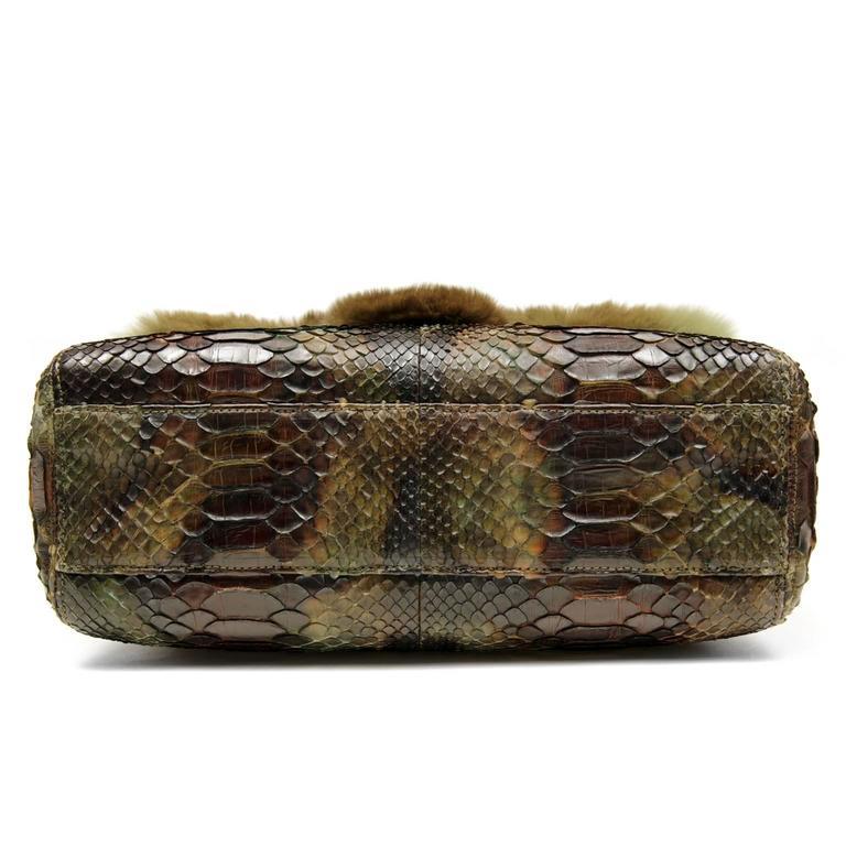Chanel Green Brown Chinchilla Fur and Python Bag 4