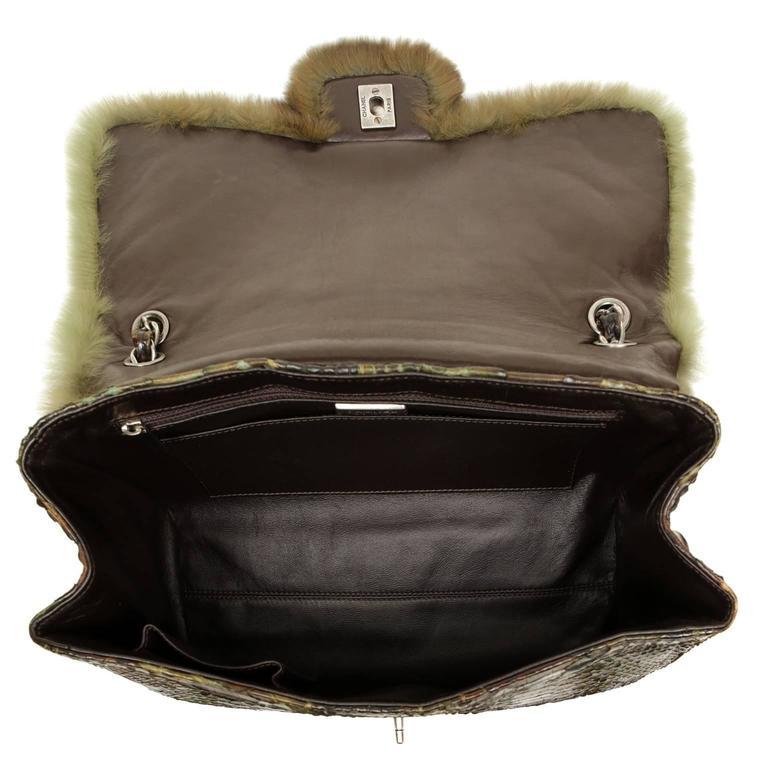 Chanel Green Brown Chinchilla Fur and Python Bag 6