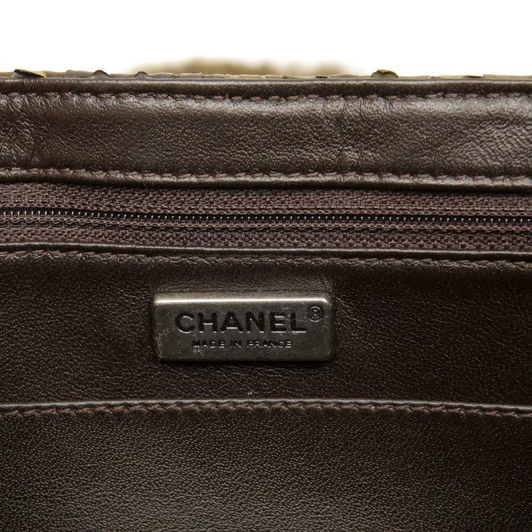 Chanel Green Brown Chinchilla Fur and Python Bag 7