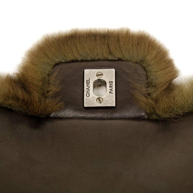 Chanel Green Brown Chinchilla Fur and Python Bag 8