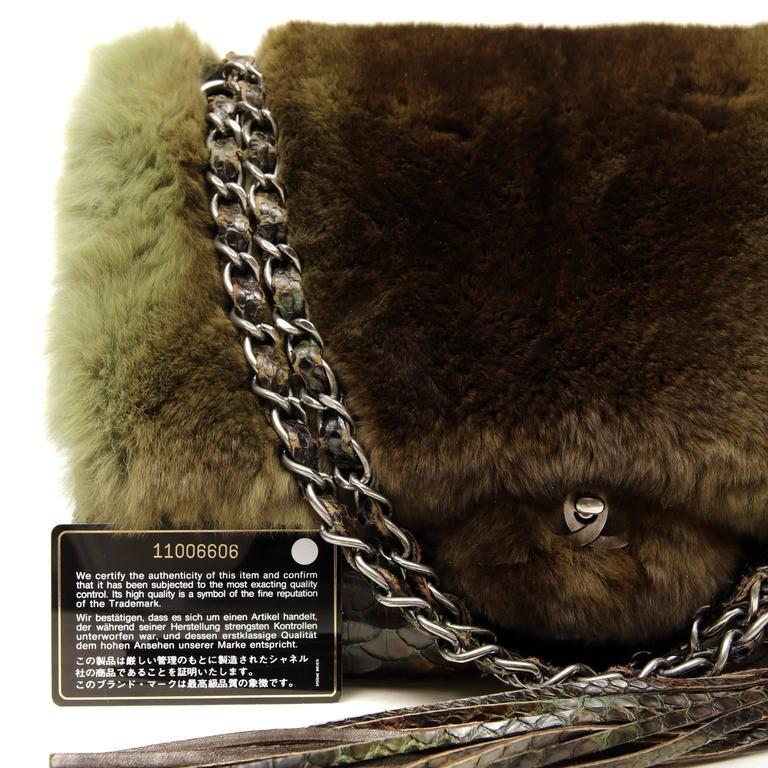Chanel Green Brown Chinchilla Fur and Python Bag 10