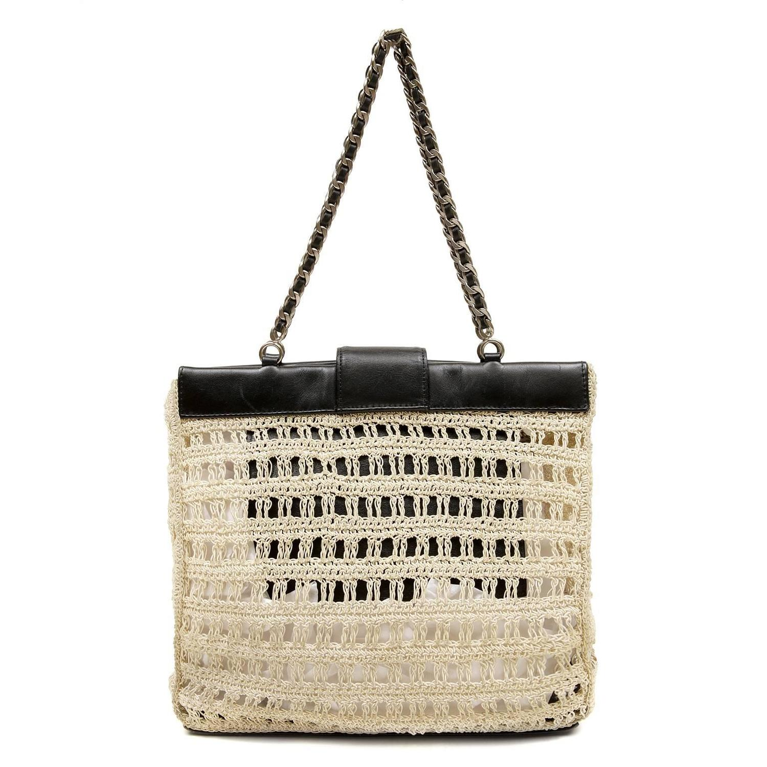 Leather Crochet Bag : Chanel Beige Crocheted and Black Leather Tote Bag For Sale at 1stdibs
