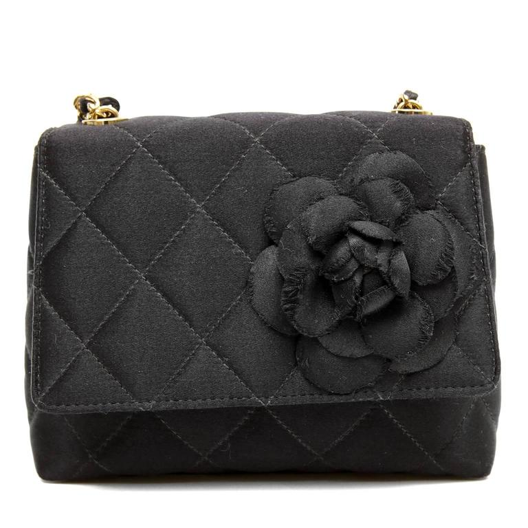 chanel black quilted satin camellia evening bag at 1stdibs