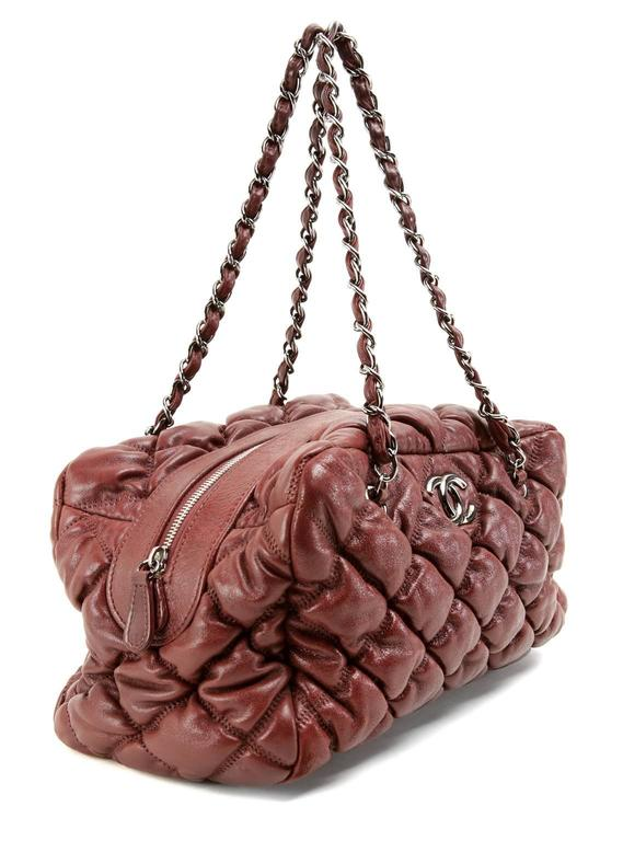 Chanel Dark Red Leather Bubble Quilt Bag 3