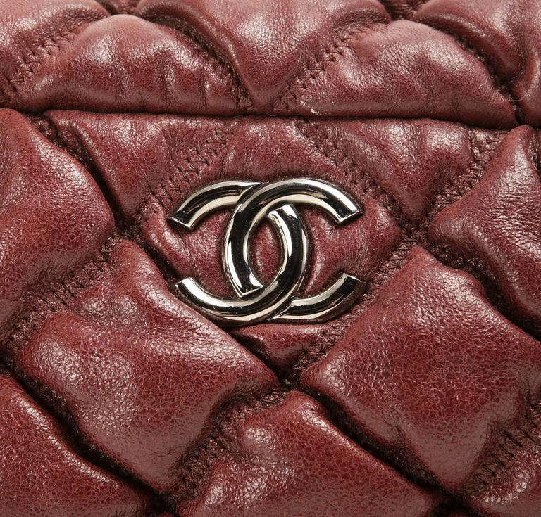 Chanel Dark Red Leather Bubble Quilt Bag 5