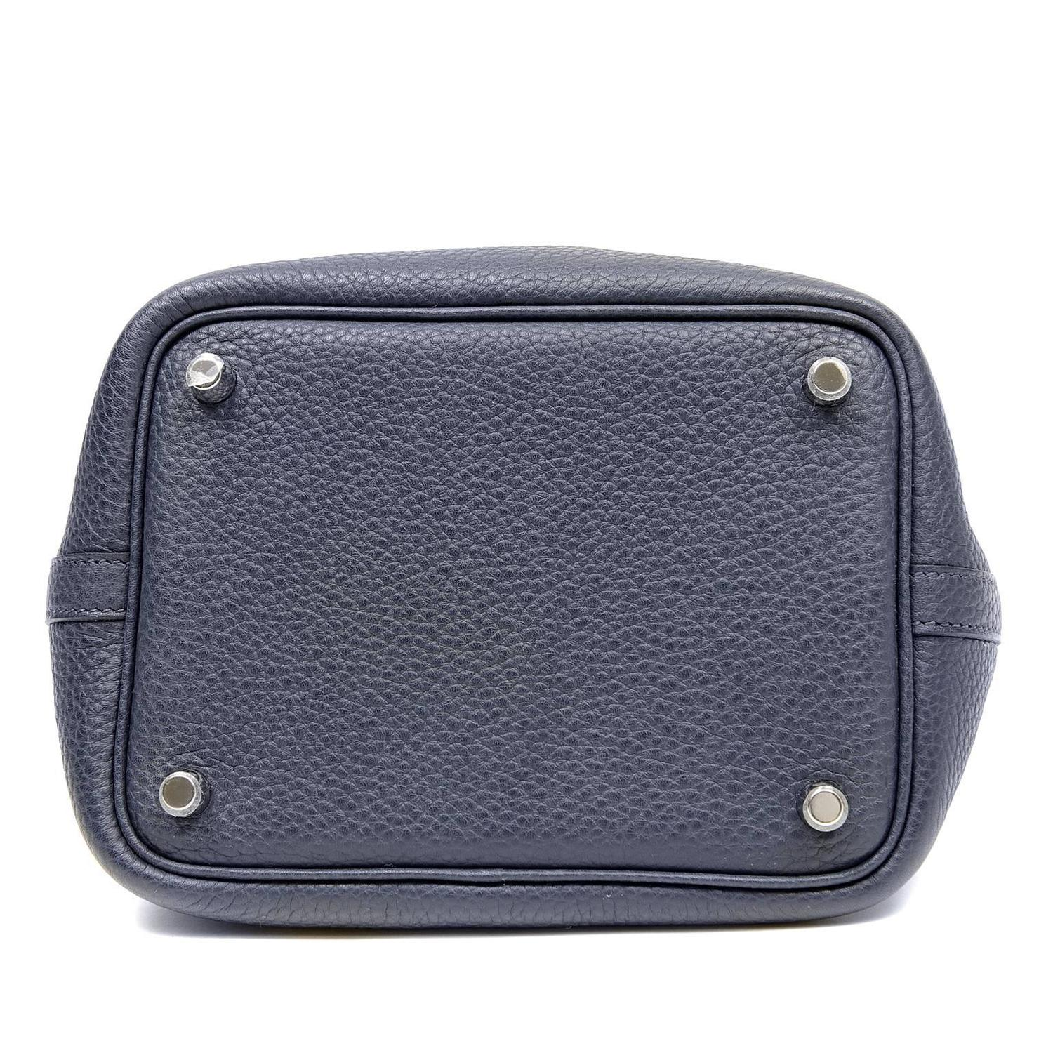 Hermes Indigo Clemence Leather Picotin Lock PM Bag For Sale at 1stdibs
