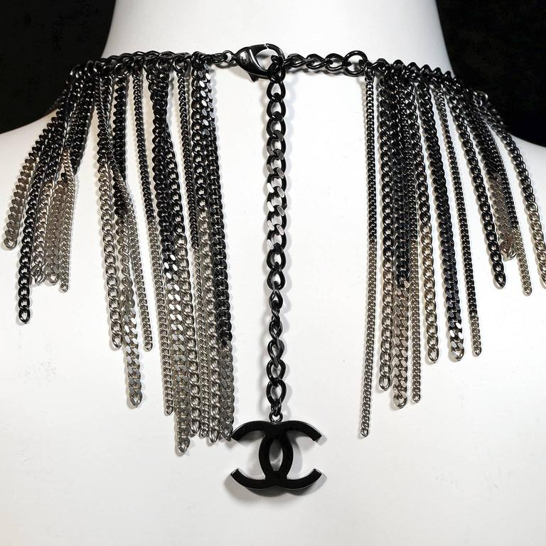 Chanel Ruthenium and Gold Dripping Chain Bib Statement Necklace In As new Condition For Sale In Malibu, CA