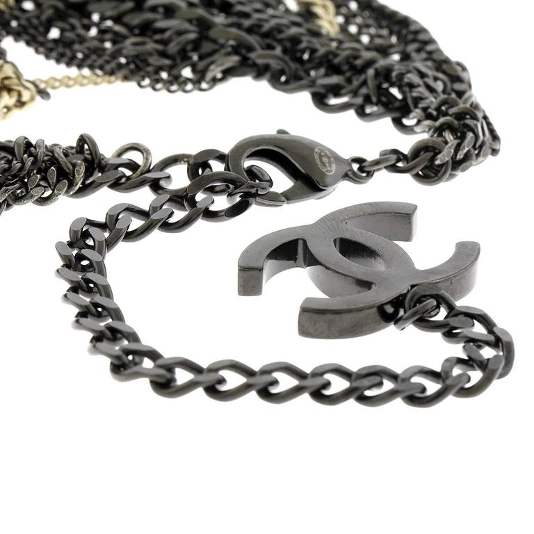 Chanel Ruthenium and Gold Dripping Chain Bib Statement Necklace For Sale 1