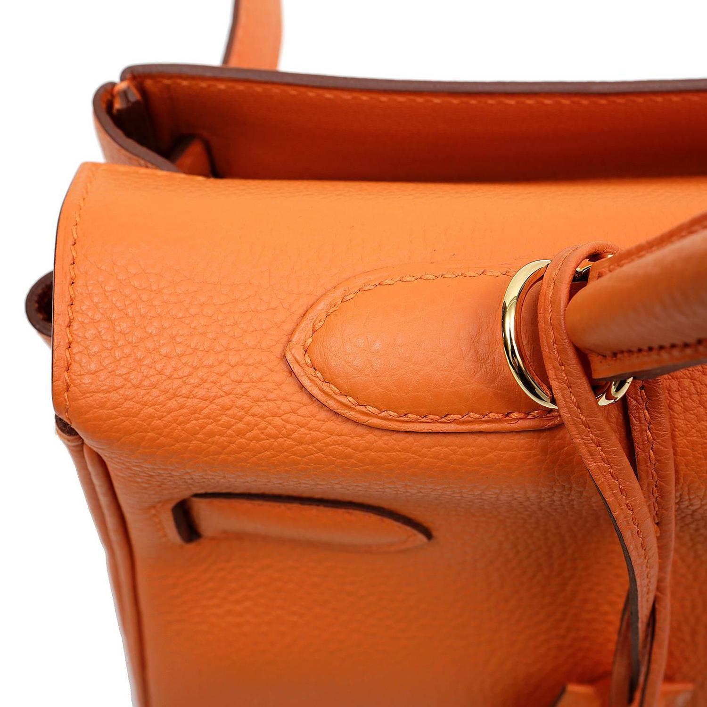hermes birkin 35 + clochette saffron ghw gold shoulder bag