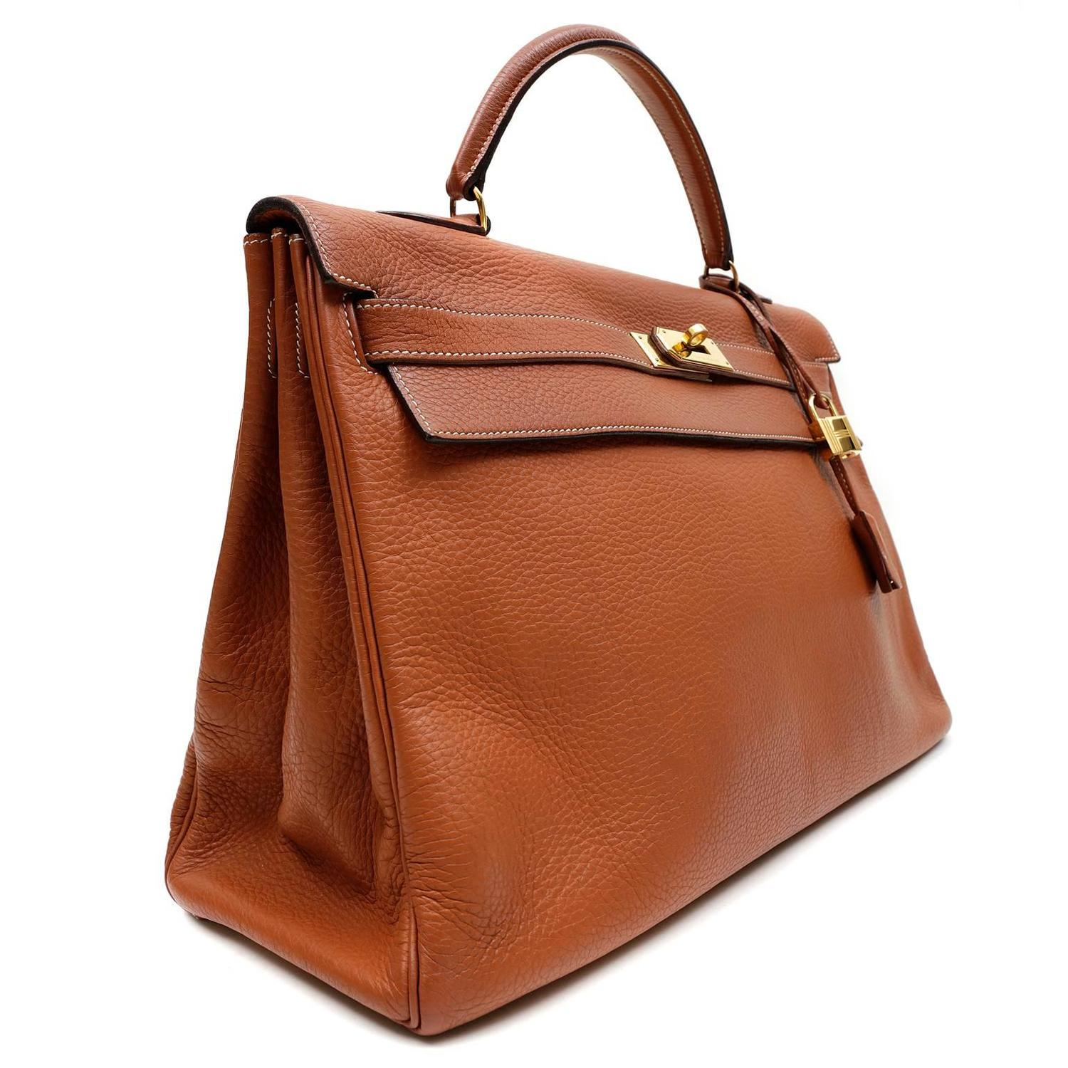 Herm��s Terracotta Togo Leather 40 cm Kelly Bag, GHW For Sale at ...