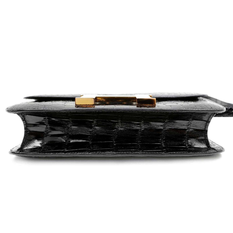 knockoff hermes - hermes black alligator constance bag- 23 cm with gold hardware ...