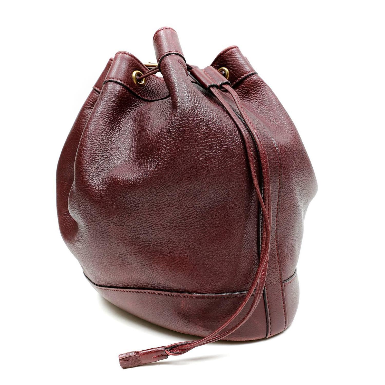 hermes hand bags - Herm��s Bordeaux Leather Vintage Market Bucket Bag For Sale at 1stdibs