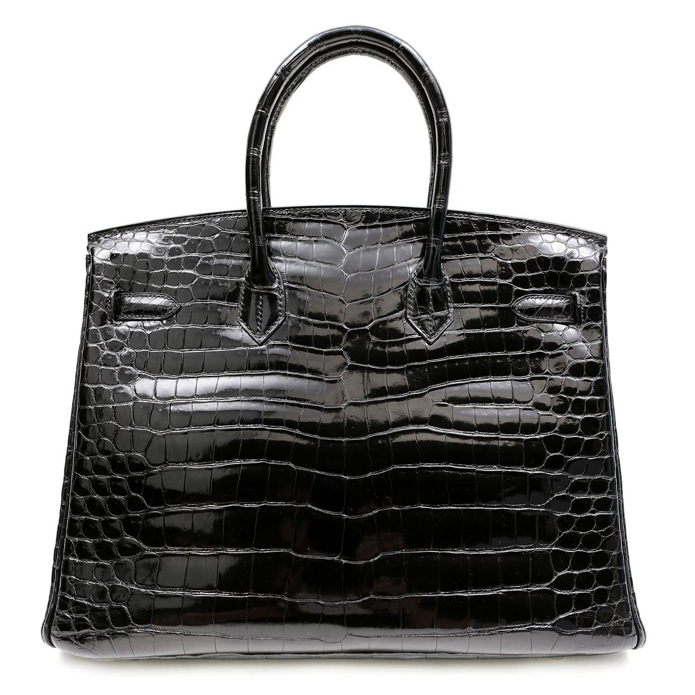 Herm��s Black Porosus Crocodile 35 cm Birkin Bag, PHW For Sale at ...