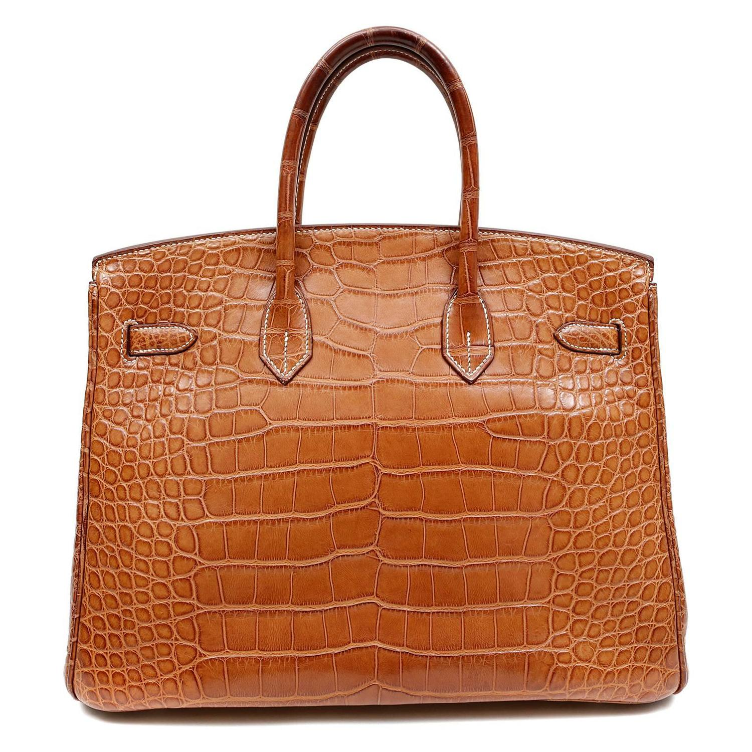 Herm��s Gold Matte Alligator Birkin Bag- 35 cm, PHW For Sale at 1stdibs