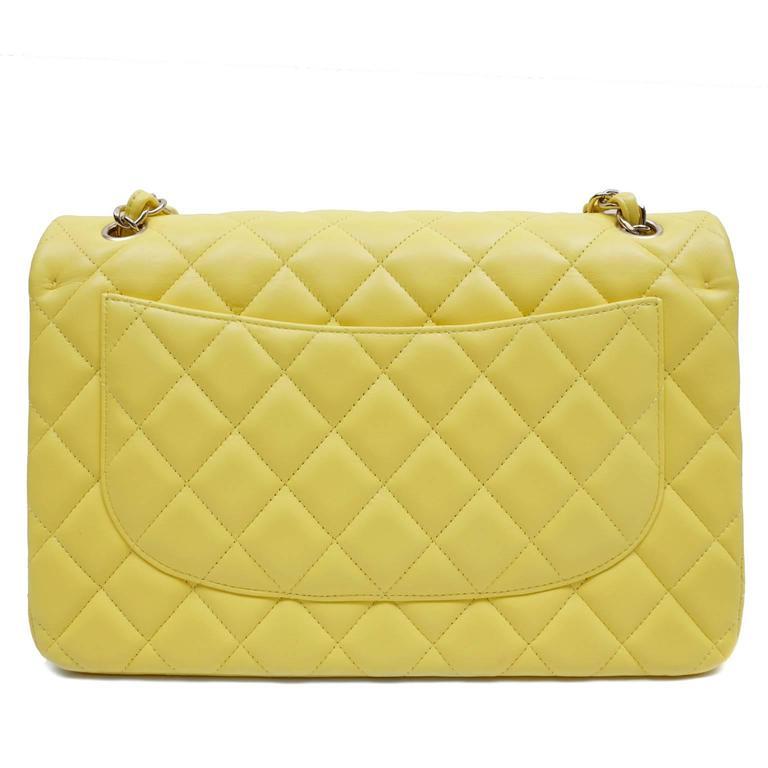 Chanel Yellow Leather Jumbo Classic Double Flap Bag 2