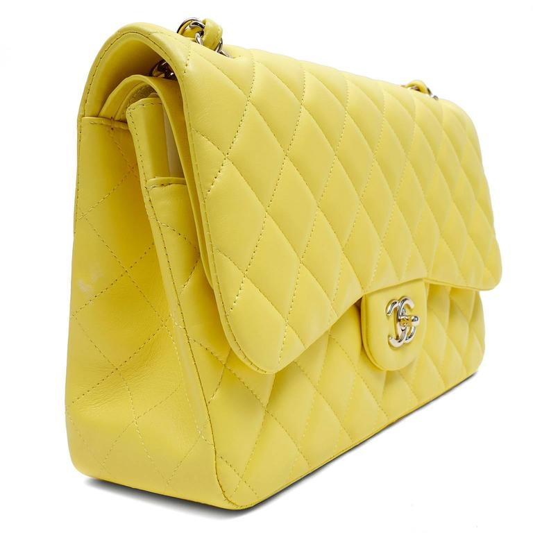 Chanel Yellow Leather Jumbo Classic Double Flap Bag In New never worn Condition For Sale In Malibu, CA