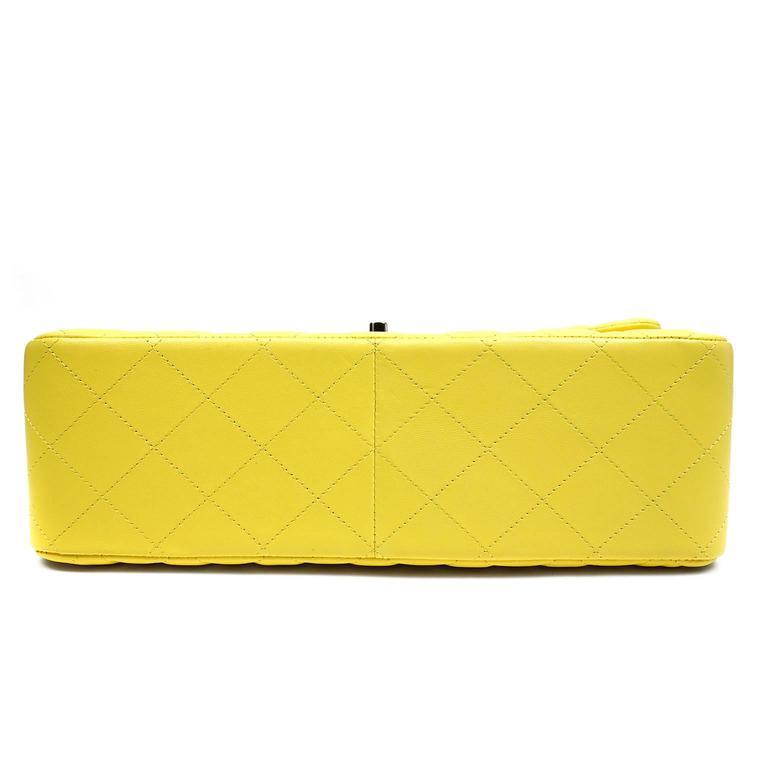 Chanel Yellow Leather Jumbo Classic Double Flap Bag 4
