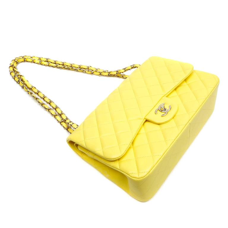 Chanel Yellow Leather Jumbo Classic Double Flap Bag For Sale 1
