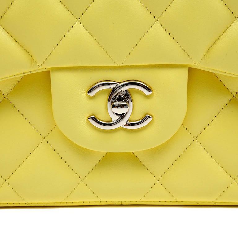 Chanel Yellow Leather Jumbo Classic Double Flap Bag 6