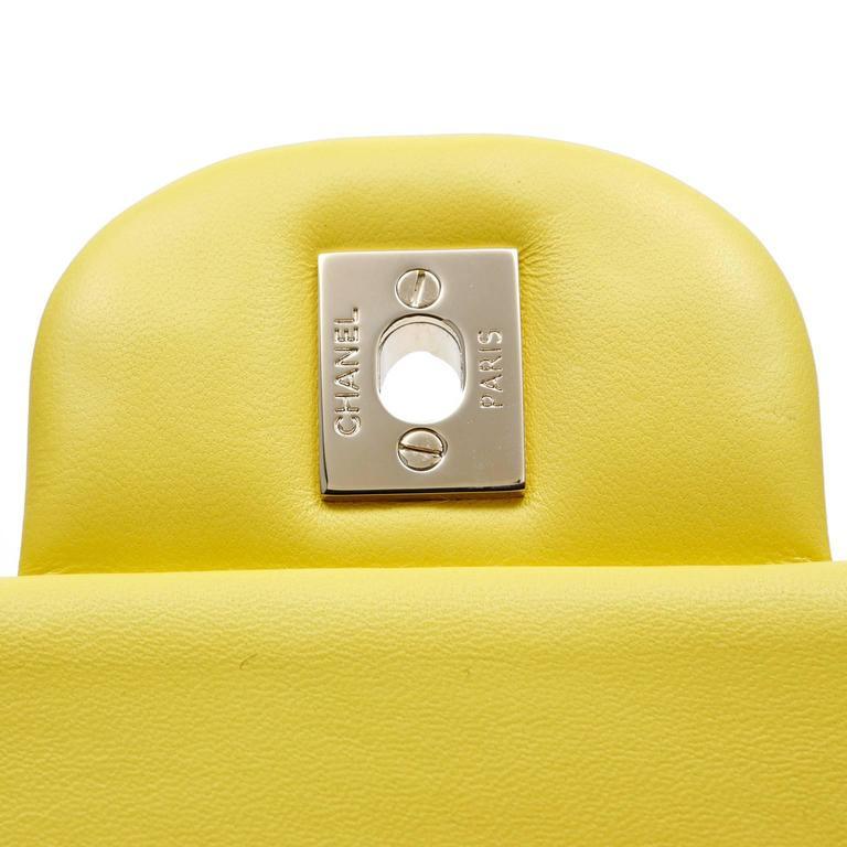 Chanel Yellow Leather Jumbo Classic Double Flap Bag 8