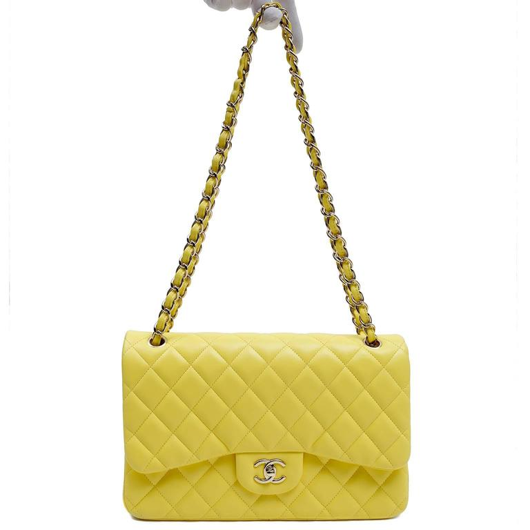 Chanel Yellow Leather Jumbo Classic Double Flap Bag For Sale 6