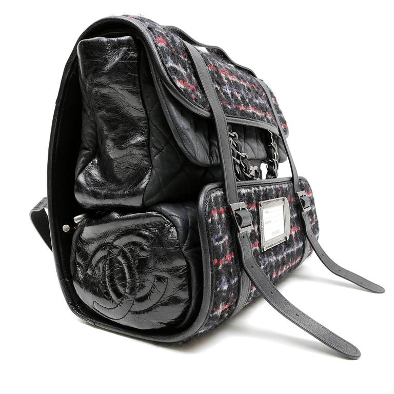 Chanel Black Tweed Runway Rolled Backpack- TWO BAGS 2
