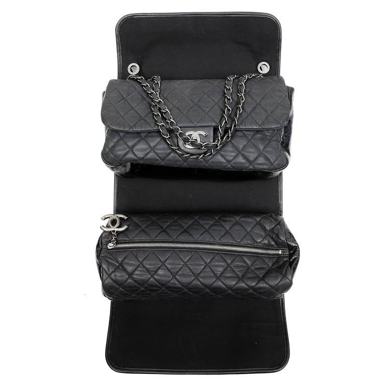 Chanel Black Tweed Runway Rolled Backpack- TWO BAGS 4
