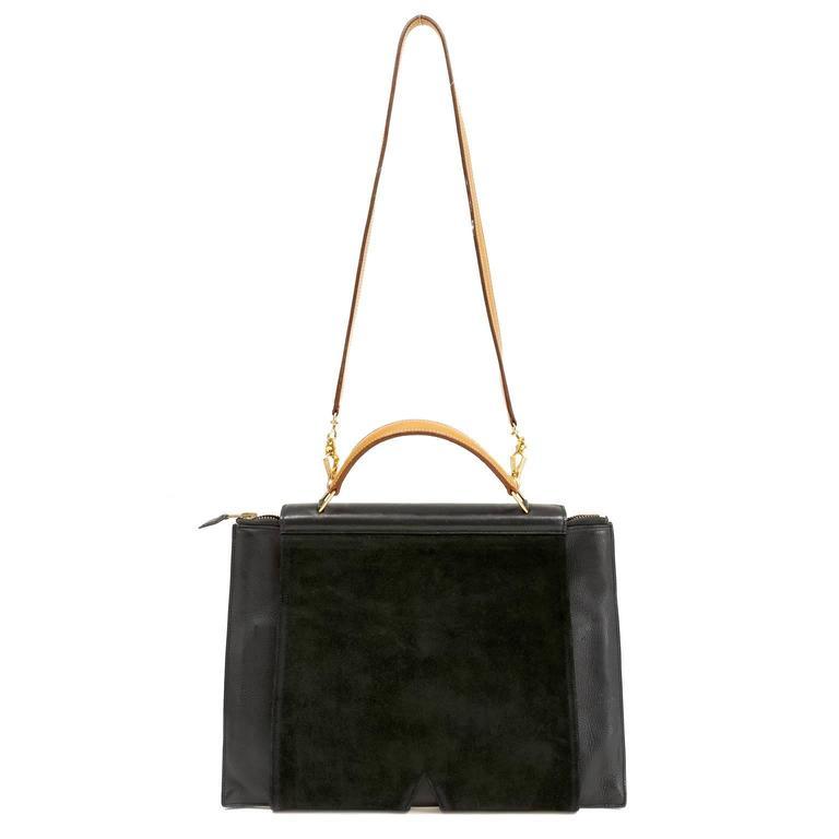 Hermès Black Leather and Lizard Brief Case 2