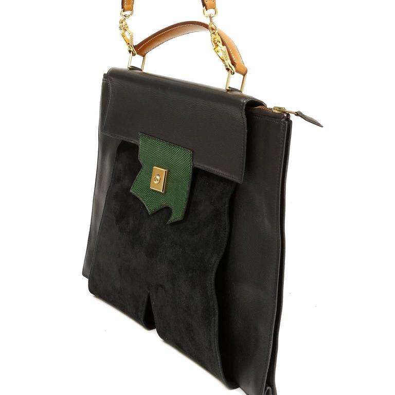 Hermès Black Leather and Lizard Brief Case 3