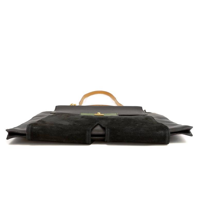 Hermès Black Leather and Lizard Brief Case 4