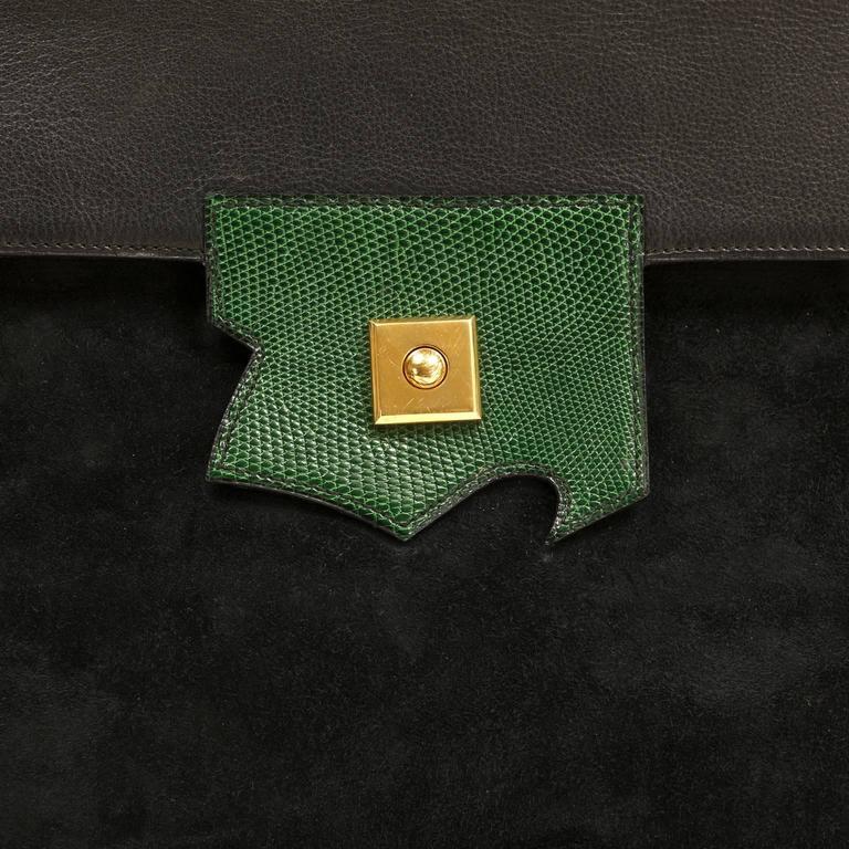 Hermès Black Leather and Lizard Brief Case 5