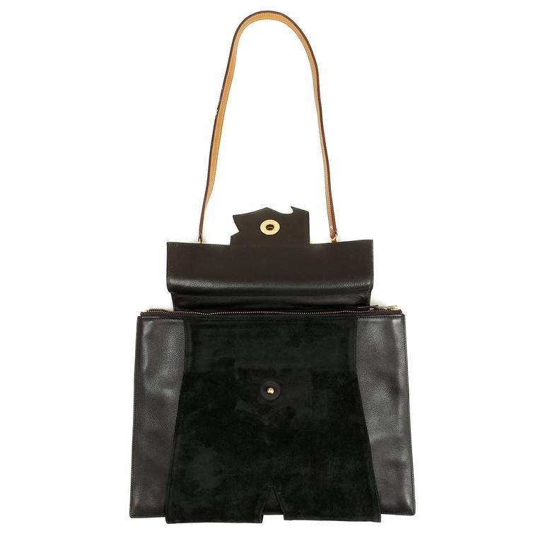 Hermès Black Leather and Lizard Brief Case 7