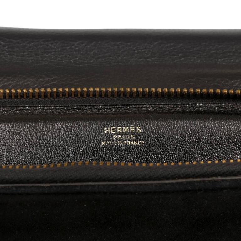 Hermès Black Leather and Lizard Brief Case 10