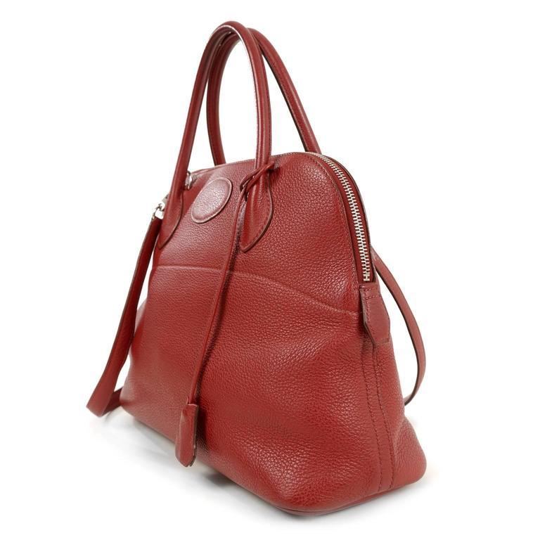 Herm 232 S Rouge Garance Togo Leather Bolide Bag 31 Cm At 1stdibs