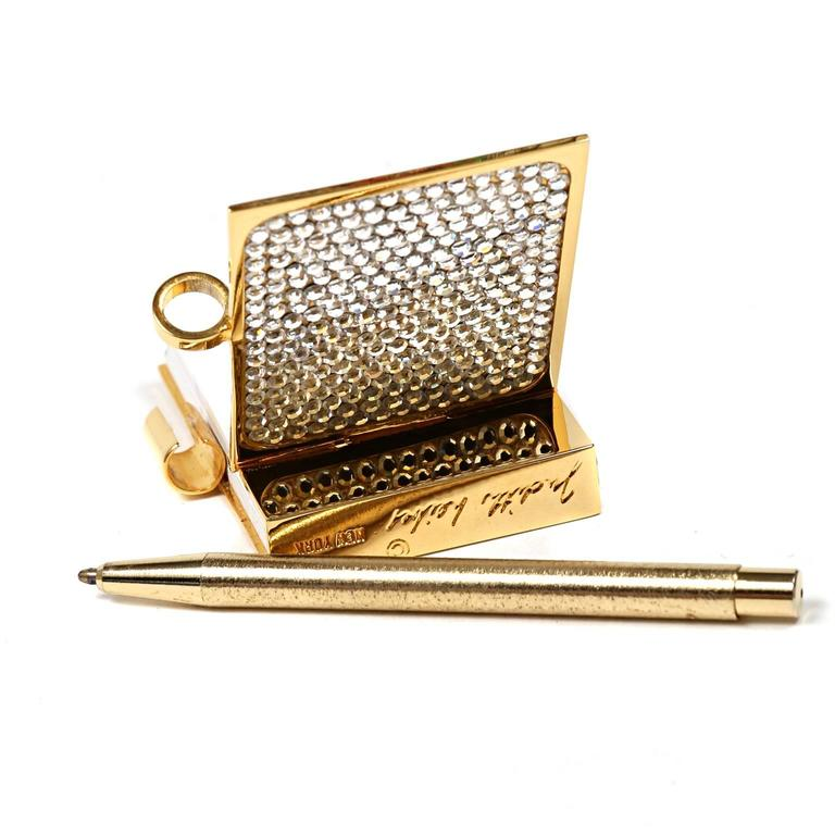 Judith Leiber Crystal Mini Note Pad With Pen For Sale At
