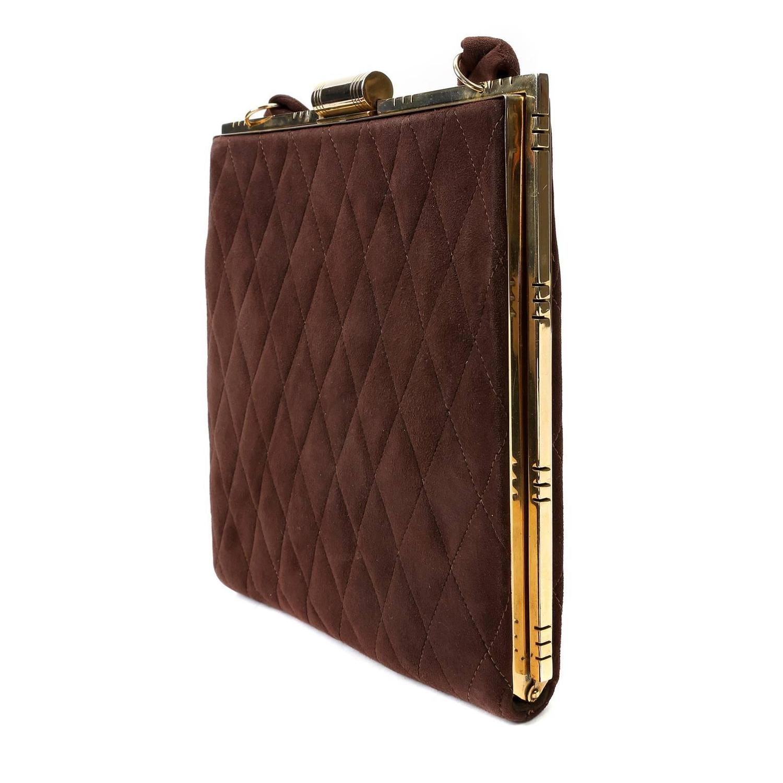 norell runway brown suede vintage evening bag at 1stdibs