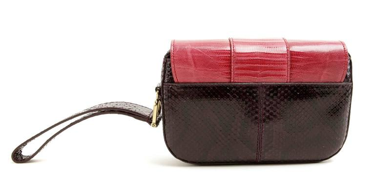 Tod's Purple Python And Red Lizard Skin Wristlet IrSd6h