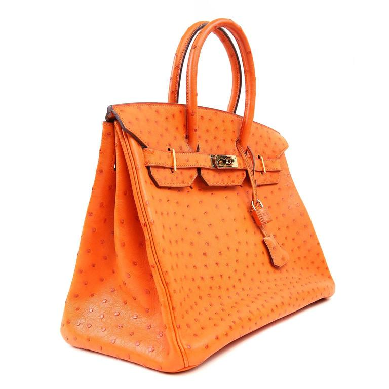 Hermès Orange Ostrich 35 Cm Birkin Prisitne Ears Never Carried Bags Are